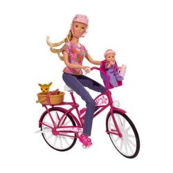 Штефи с малышом на велосипеде